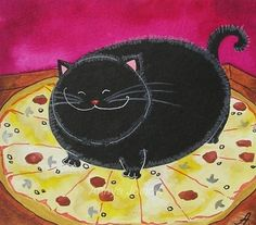 Bad Kitty Got to your Pizza First by  Annya Kai