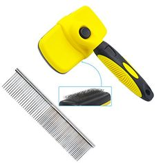 Qulable Dog Brush Self Cleaning Slicker Brush with Pet Steel Grooming Comb Removes Tangled Knots, Mats, Dead Undercoat and Loose Hair for Dogs and Cats with Long and Short Fur  Best Pet Grooming Tool -- Qulable Slicker Brush and Pet Steel Grooming Comb are all work great on all sizes dogs and cats with hair types! Removes loose hair to greatly reduce pet shedding keeping your house and clothes free of that annoying pet hair  Quick and Easy Cleaning -- When you're done brushing your pet...