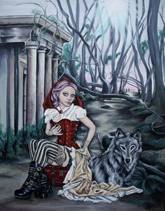 Nothing but today - steampunk little red ridinghood painting by Sally Jacob