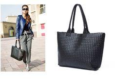 Fashion Women Black Woven Shoulder Bag Weave Tote Lady Vintage Handbag Purse