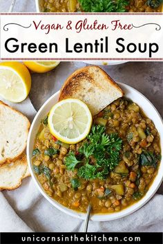Green lentil soup with a Mediterranean twist is the perfect weeknight dinner. This healthy and hearty lentil soup is packed with vegetables and spices. It's naturally vegan and gluten free and I love making a large batch of it to enjoy during the week! Green Lentil Soup, Lentil Vegetable Soup, Curried Lentil Soup, Vegan Lentil Soup, Green Lentils, Lentil Curry, Vegetarian Soup, Recipe For Lentil Soup, Lentil Meals