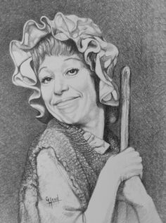 Carol Burnett....as...The Cleaning Lady.....a Pencil Portrait Drawing by......Greg Hand.