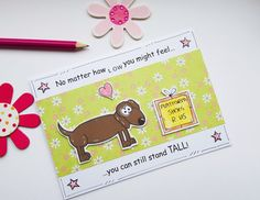 Dachshund Motivational Card  Stand Tall  by CraftyMushroomCards
