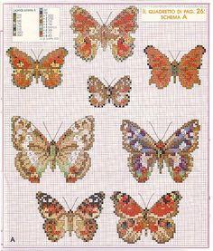 Realistic butterflies cross stitch patterns (6)