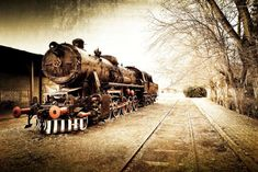Leowefowa Old Locomotive Backdrop Ancient Shabby Steam Train Backdrops for Photography Shabby Railroad Tracks Nature Winter Travel Photo Background Kids Adults Portraits Studio Props Vintage Italian, Retro Vintage, Wallpaper Stores, Old Images, Photography Backdrops, Studio Portraits, Winter Travel, Photo Backgrounds, Railroad Tracks