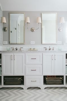 master bathroom // chevron flooring // kate marker interiors