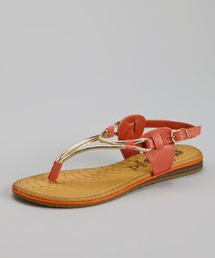 Eye-catching metallics and a sleek shape make this a must-have sandal. An essential addition to warm weather footwear, the stylish T-strap and buckle add that wow factor without skimping on comfort. Cute Flats, Cute Sandals, T Strap Sandals, Cheap Shopping, Stylish Sandals, Warm Weather, Flip Flops, Coral, Footwear