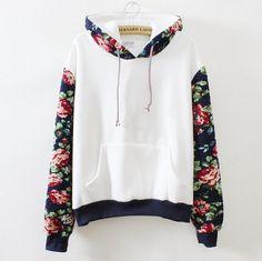 Retro Flowers Hooded Sweater