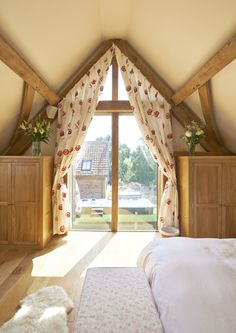 Master bedroom overlooking the sunlit garden.