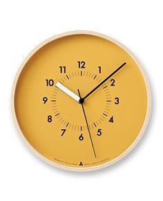 SOSO Clock in Orange design by Lemnos Orange Clocks, Kitchen Clocks, Wall Clock Design, Clock Wall, Orange Design, Clock Decor, Wooden Clock, Burke Decor, Mellow Yellow