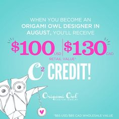 Have you been contemplating starting your own Origami Owl business? Does your teenager need extra $?  In August, the starter kit ships for free and you receive $100 bonus to spend at Origami Owl!!   https://dreambig.origamiowl.com/ • #jewelry #lockets #watches #charms #directsales #giftsforher