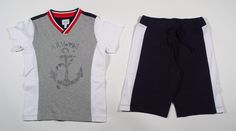 Armani Boys 2 Piece ANCHOR V-Neck Top and Shorts Set - Jr