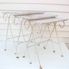Vintage Wrought Iron Nesting Tables Patio Furniture By WhimzyThyme