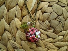 Pink Floral Lampwork Necklace with Vintage Style by QuailCreations, $18.00