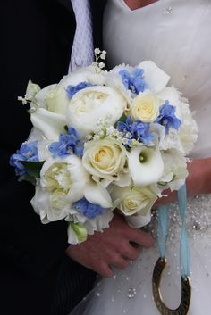 Flower Design Events: Blue & Ivory Wedding Bouquet
