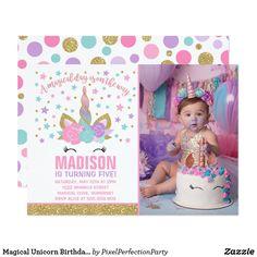 Magical Unicorn Birthday Invitation Pink Gold - birthday diy gift present custom ideas Unicorn Birthday Invitations, Unicorn Birthday Parties, Unicorn Party, Birthday Cards, Rainbow Unicorn, Birthday Diy, Birthday Gifts, Happy Birthday, Rainbow Birthday