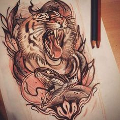 The main reason to add animal design as a tattoo was to build a personality or to show up your inner self as the tattoos. Here is our list of some of the coolest lion & snake tattoo designs. Tattoo Snake, 4 Tattoo, Serpent Tattoo, Tattoo Blog, Tattoo Flash, Tattoo Sketches, Tattoo Drawings, Body Art Tattoos, Tattoos Pics