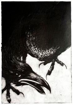 Crow (collagraph print) by Jim Kay(UK) 2013
