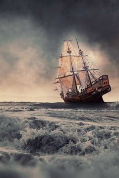 Sailing in the heavy storm - By: (Caras Ionut)