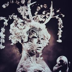 """Lilith"" Photo: 8 X 10 Ambrotype on lavender glass by Allan Barnes Body paint: Michael Rosner Headdress: Miss G Designs Model: Pingping Art #wetplatecollodion #ambrotype  #altprocess #fashionart #largeformat #headdress #headpiece #crown #lilith #flowerheadband #flowerheaddress #missgdesigns"