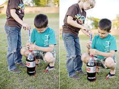 mentos/diet coke geyser...fun summer activity for my boys!