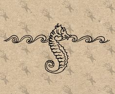 Vintage image Seahorse Nautical Instant Download Digital printable picture clipart graphic - scrapbooking, burlap, kraft, etc HQ 300dpi by UnoPrint on Etsy
