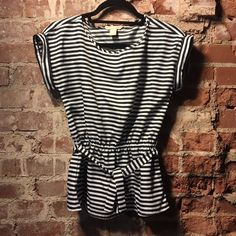 🔱 NWOT Banana Republic Striped Top NWOT! Short sleeve top, peplum, belt, elastic waist. 💋 Happy Poshing! (x trade) Banana Republic Tops Blouses