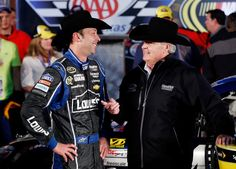 (L-R) Chad Knaus, crew chief of the #48 Lowe's Chevrolet, celebrates with owner Rick Hendrick in Victory Lane after Jimmie Johnson won the N...