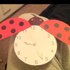 The grouchy ladybug clock I made for my 2nd graders to use and manipulate.