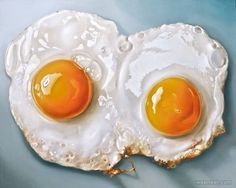 Two Fried Eggs realistic oil paintings by Dutch Artist Tjalf Sparnaay