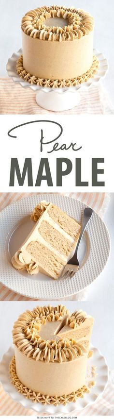 Pear Almond Cake with Maple Spice Frosting | Tessa Huff for TheCakeBlog.com