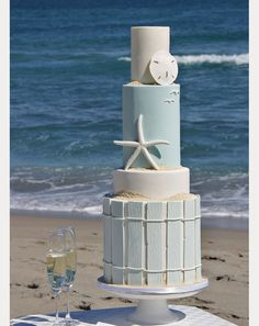 perfect beach wedding cake! love the bottom layer! ~  we ❤ this! moncheribridals.com