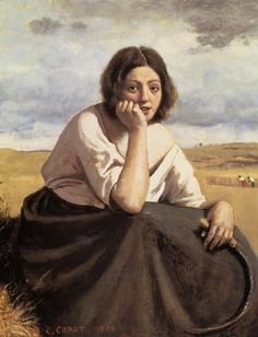 "artist-corot: ""Harvester Holding Her Sickle, Camille Corot Medium: oil, canvas"" Almeida Junior, Barbizon School, Oil Canvas, Gustave Courbet, Art Database, Museum Of Fine Arts, French Art, Paintings For Sale, Figurative Art"