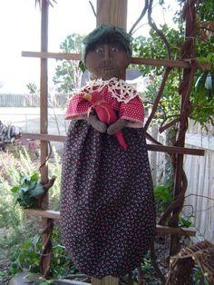 Epattern Folk Art Doll Bagholder with red bird by Raggedyrhondas, $5.00