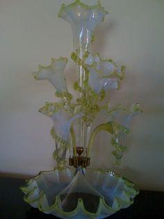 Antique Victorian Epergne Vaseline Art Glass Opalescent Centerpiece Vase