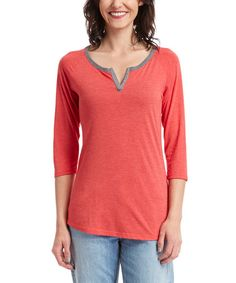 This Red & Heather Gray Three-Quarter Sleeve Notch Neck Tee is perfect! #zulilyfinds