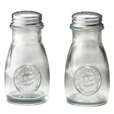 Tablecraft 6618 4 oz. Authentic Collection Recycled Green Glass Salt and Pepper Shakers with Stainless Steel Tops - 24 Shakers / Case