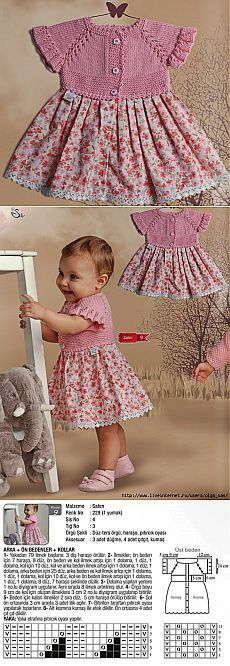 Baby Knit Dress Patterns – Knitting And We Knitting For Kids, Baby Knitting Patterns, Crochet For Kids, Baby Patterns, Hand Knitting, Dress Patterns, Knit Baby Dress, Crochet Baby Clothes, Baby Girl Dresses