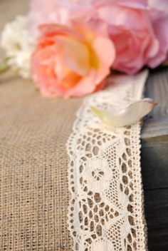 Crochet Ivory Lace Trimmed Burlap Wedding Aisle Runner