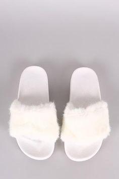 42a42e8c54c Fluffy Faux Fur Open Toe Slide Sandal