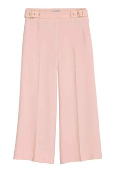 Culottes: Calf-length, wide crêpe culottes with a sewn-on belt with metal fasteners at the sides, a concealed zip in the side and welt back pockets.