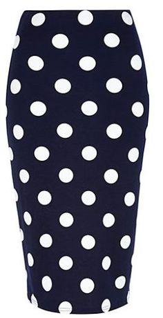 River Island polka dot pencil skirt