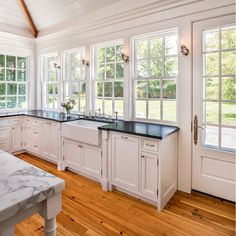 Flooring is Heart Yellow Pine – Salvaged. West Chester, PA by Period Architecture Like the idea of the windows and the door on the side if enough room Home Decor Kitchen, Kitchen Interior, New Kitchen, Home Kitchens, Kitchen Dining, Traditional Kitchen, Kitchen Layout, Kitchen Remodel, Kitchen Cabinets