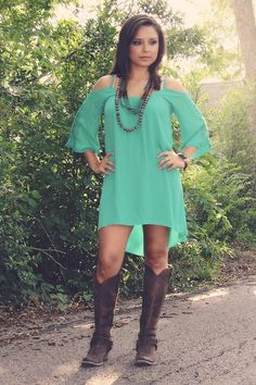 Pinned onto Cute Dresses Board in Cute Category Moda Country, Country Wear, Country Girls Outfits, Country Fashion, Dresses With Cowboy Boots, Cowgirl Outfits, Cowgirl Style, Cowgirl Chic, Western Dresses