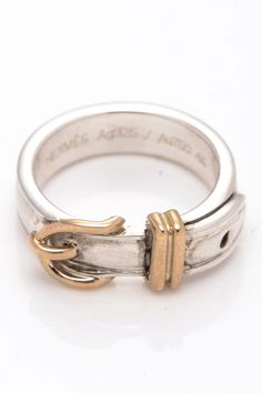 Vintage Hermes 18K Yellow Gold & Sterling Silver 925 Ring - Size 4.5 on HauteLook