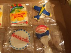 Pensacola cookies - blue angels, Pensacola beach water tower, 17th ave tressel Pensacola Beach, Blue Angels, Water Tower, Sugar, Cookies, Desserts, Food, Crack Crackers, Tailgate Desserts