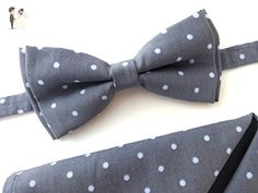 79e1a8d1a3be Grey bow tie and pocket square set - Groom fashion accessories (*Amazon  Partner-