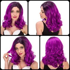 Sparkling Medium Wavy Side Parting Black Mixed Bright Purple Women's Cosplay Lolita Synthetic Wig