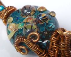 Lamp work glass bead copper wire wrapped OOAK Handmade