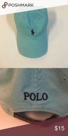 Polo Hat Light blue polo hat with navy horse and writing. Gently worn Polo by Ralph Lauren Accessories Hats